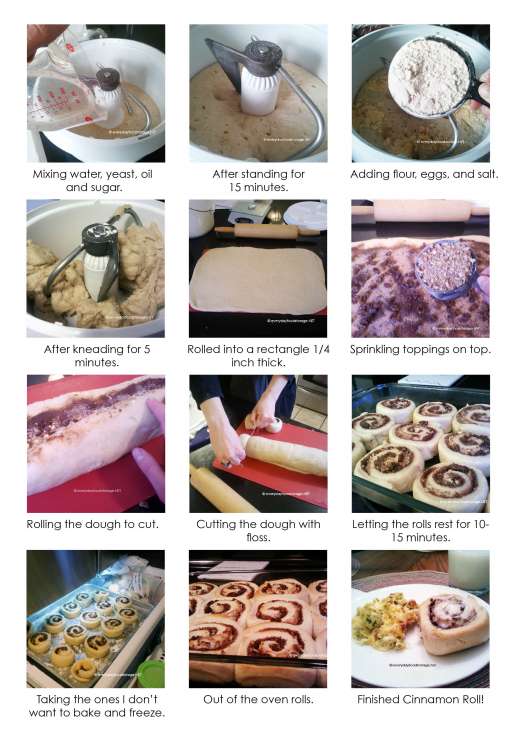 making cinnamon rolls a picture montage